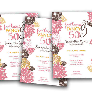 Spring Flower Birthday Invitation For Women - Pink Brown Gold Spring Birthday Invitation - Ladies - 40th - 50th - fancy - footloose