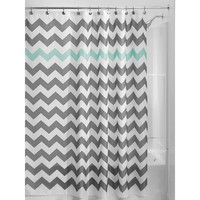 Grey Aqua Blue White Chevron Polyester Fabric 72-inch Shower Curtain