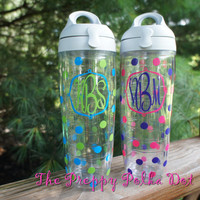 Monogram Tervis Water Bottle with Polka Dots