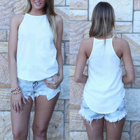 Hot Fashion Women Tee Summer Casual Sleeveless Vest Tank Tops Loose Tanks Camis