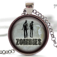 Zombies Necklace, Walking Dead Jewelry, Zombie Pendant, Zombies Charm (568)
