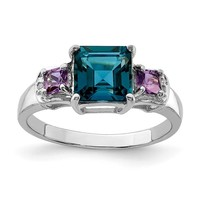 Sterling Silver Blue Topaz, Amethyst And Diamond Ring