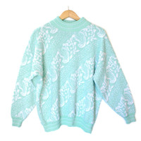 Vintage 80s Acrylic Sparkle Diagonal Paisley Tacky Ugly Sweater - The Ugly Sweater Shop
