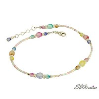 Pastel Czech Glass Beaded Anklet