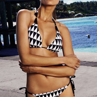 Black and White Geometric Print Triangle Bikini