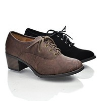 Mataro Round Toe Lace Up Oxford Inspired Stacked Heel Women's Shoes