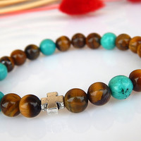 Men's Turquoise Bracelet, Men's Tiger's Eye Bracelet, Men's Gemstone Bracelet, Gift for Men, Gift for Him