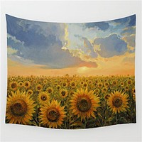 Sunflower Landscape Tapestry
