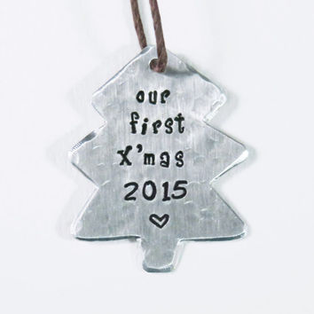Our first Christmas tree ornament - newlyweds Christmas ornament 2015 - Textured aluminum first Xmas 2015 for sweethearts