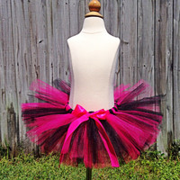 Hot Pink and Black Tutu with Clip-On Satin Bow - Photo Prop, Smash Cake, Baby Tutu, Girl Birthday Outfit, Dance Tutu -Made for any age