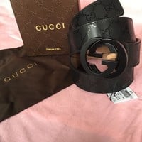 New Gucci Black Imprime Belt 90cm 30-32