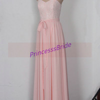 Long pink chiffon prom dresses with lace,elegant women gowns for evening party,cheap bridesmaid dress under 150,homecoming dress hot.