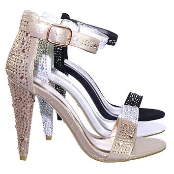 Smashing02 Rhinestone Crystal Stud Embellished Party High Heel Sandal
