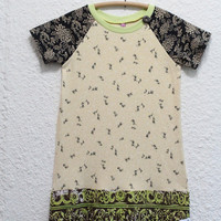 Recycled T Shirt Dress, Upcycled T Shirt Dress, T Shirt Dress, Print TShirt Dress,  Girls Size 7, Dress, Upcycled Short Sleeve Tshirt Dress