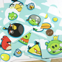9 Angry Birds Gift Tags: Angry Birds Extra Large Hang Tags, set of 8 unique tags, one of a kind, clouds, 4 x 3.5 inch tags, THE ANGRY SET
