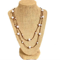 Multiple White Pearl knotted long necklace, knot pearl bead, white pearl, knotted, brown cord, gift, Chic