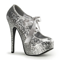 Silver Glitter Bow Front Holiday Heels