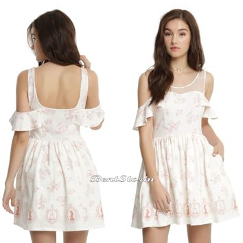 Licensed cool Disney Beauty & the Beast Icons Cream Cold Shoulder Dress Pink Roses Cameo S-XL