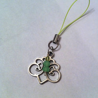 Filigree charm with mint green crystals cell phone charm,purse pull,keychain