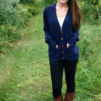 Oversized Midnight Blue Sweater with Leather Buttons
