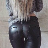 Faux Leather Thickening PU Elastic Shaping Hip Push Up Pants Black Sexy Leggings for Women Jegging Gothic Leggins Autumn Winter