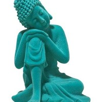 Electric Teal Boho Buddha Décor Figurine