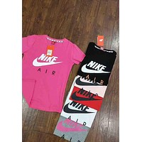 "Hot Sale ""Nike"" Trending Women Men Loose Print T-Shirt Top Rose Red I-G-JGYF"