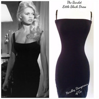 The Bardot BLACK Stretch Knit Pencil Dress with Adjustable Straps, Rockabilly Knee Length Cocktail Wiggle Dress, Little Black Pencil Dress