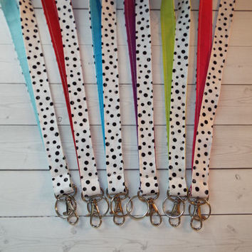 Lanyard ID Badge Holder - black confetti dots white - solid colors - Create your own  - Lobster clasp and key ring