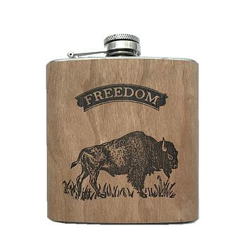 Freedom Walnut Wood Flask