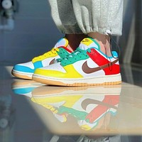Nike's AIR Jordan 1 new SB Dunk Low SE white, blue and green colorful stitching low-top sneakers casual sports shoes