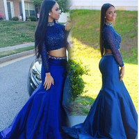 High Neck Long Sleeve Prom Dresses
