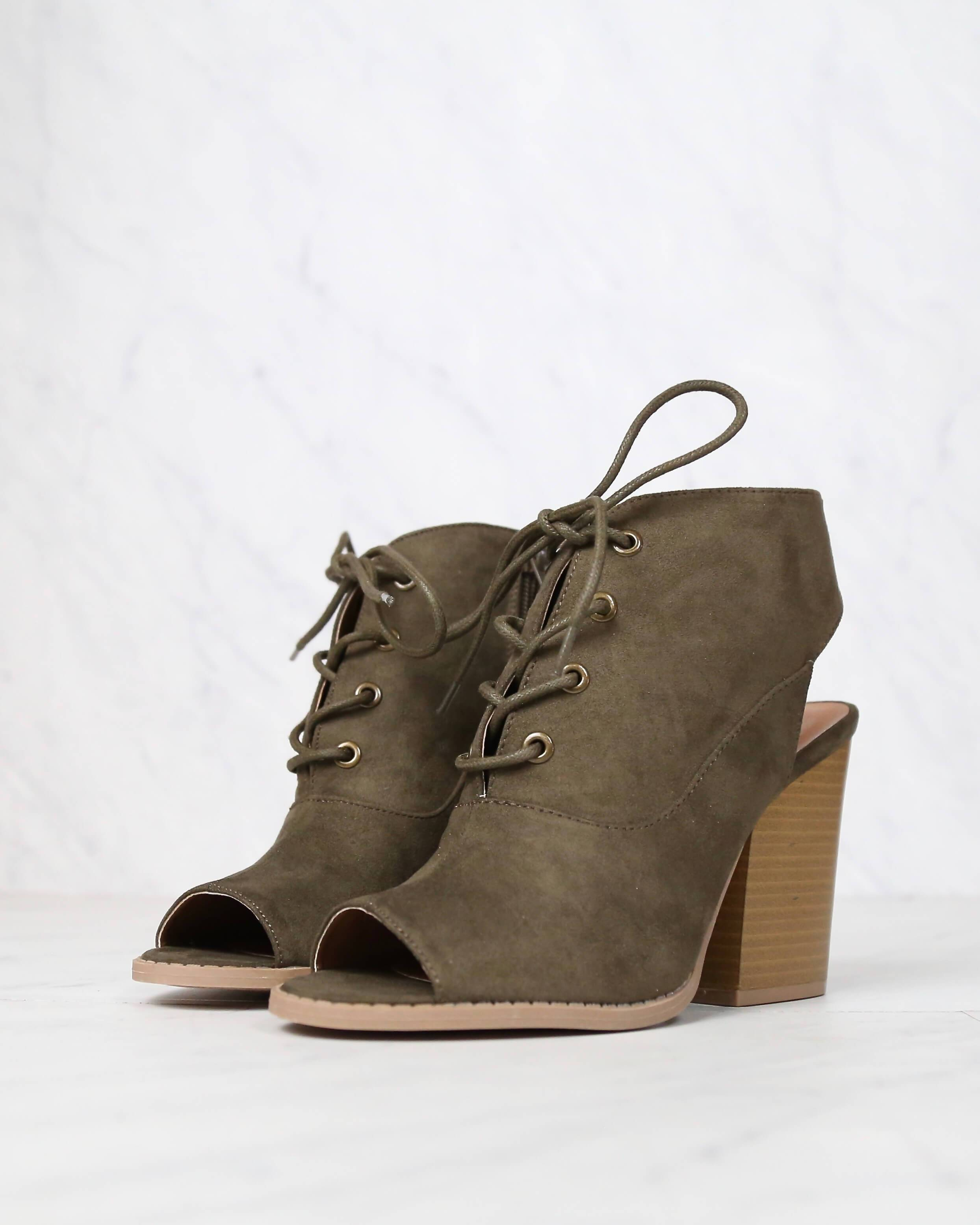 Image of Final Sale - Adventure Lace Up Peep Toe Suede Booties in Khaki