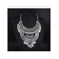Foreign Trade Necklace European Big Brand Necklace Vintage Alloy National Style Woman Ornament   whiteK