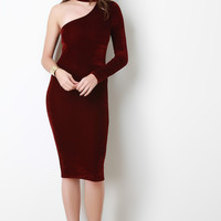 One Shoulder Mock Neck velvet Bodycon Dress