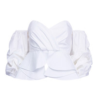 White Off Shoulder Puff Sleeve Wrap Front Ruffle Blouse