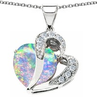 Star K Heart Shape 12mm Simulated Opal Pendant Sterling Silver