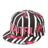 Black Combo Floral Striped Beautiful Baseball Cap by Charlotte Russe