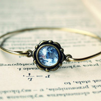 Vintage Antique Brass Romantic Galaxy Bracelet - Free Shipping - Made to order :)