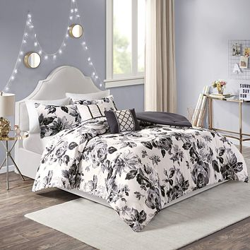 Intelligent Design Dorsey Comforter Reversible Flower Floral Botanical Printed Ultra-Soft Brushed Overfilled Down Alternative Hypoallergenic All Season Bedding-Set, Full/Queen, Black/White Full / Queen