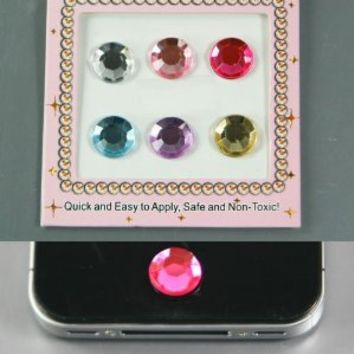 ZuGadgets 6 in a pack / Shimmery Home Colorful Button Stickers for Apple iPhone4 4S / iPad2 3 / iPod/Round Rhinestones Beads with Polygons Facets (7115-2)