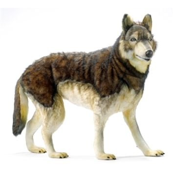 Handcrafted 40 Inch Life-size Ride-On Wolf Stuffed Animal by Hansa