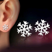 design silver plated carved jewelry snowflake earrings for women ear girlfriend love gifts boucle d'oreille E85