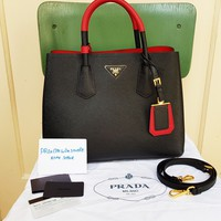 Original PRADA saffiano Cuir Tasche Leder Leather Double Bag 1BG775 Schwarz Rot