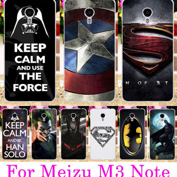 Soft TPU Hard PC Phone Cases For Meizu M3 Note Case Meilan Note 3 Meilan Note3 5.5 Covers Cool Captain America Batman Capa Shell