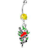 Yellow Gem Love Never Dies Tattoo Charm Dangle Belly Ring   Body Candy Body Jewelry