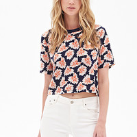 FOREVER 21 Abstract Floral Crop Top Navy/Coral