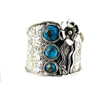 Copper Turquoise Sterling Tuxedo Band Ring