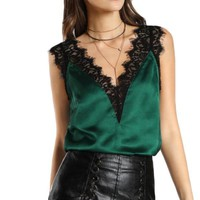 Lace Trim V Neck Satin Top