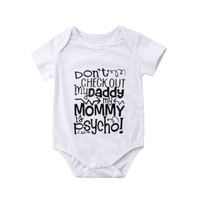 Newborn Baby Girls Boys Romper Jumpsuit Letter Summer short Sleeve Casual  Infant Clothes Outfit